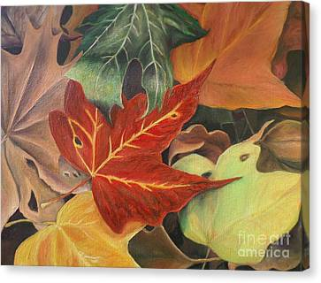 Autumn Leaves In Layers Canvas Print by Christy Saunders Church