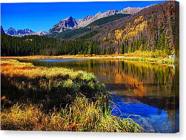 Mountain Reflection Lake Summit Mirror Canvas Print - Autumn Reflections by Brian Kerls