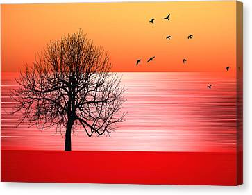 Bare Trees Canvas Print - Autumn by Sharon Lisa Clarke