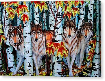 Autumn Wolves Canvas Print