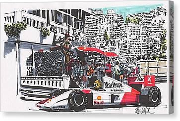 Racing Canvas Print - Ayrton Senna Mclaren Grand Prix Of Monaco by Paul Guyer