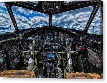 B17 Canvas Print - B-17 Cockpit by Mike Burgquist