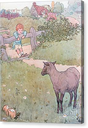 Baa Baa Black Sheep Canvas Print by Leonard Leslie Brooke