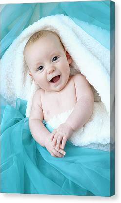 Baby Boy Looking At Camera Canvas Print by Ruth Jenkinson
