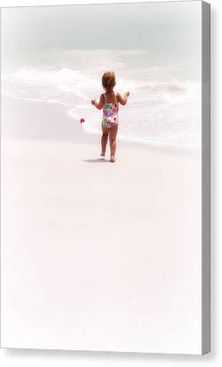 Canvas Print featuring the digital art Baby Chases Red Ball by Valerie Reeves