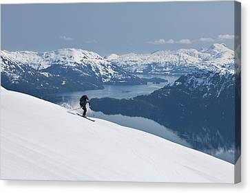 Backcountry Skiing In Prince William Canvas Print by Hugh Rose