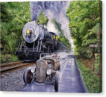 Backwoods Duel Canvas Print by Ruben Duran