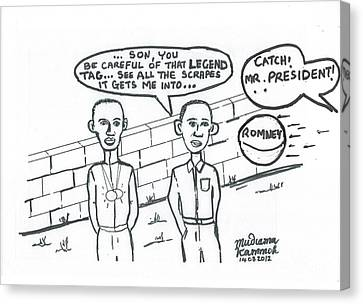 Canvas Print featuring the drawing Barack Obama And Usain Bolt Cartoon by Mudiama Kammoh