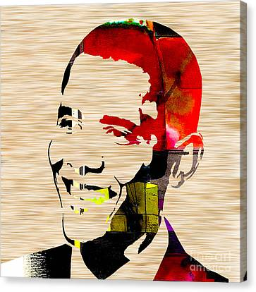 Barack Obama Canvas Print by Marvin Blaine