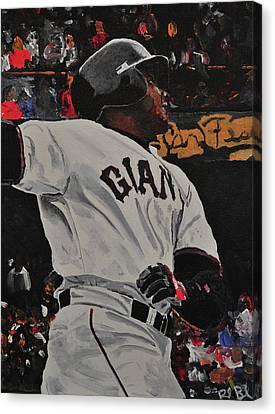Barry Bonds Canvas Print - Barry Bonds World Record Breaking Home Run by Ruben Barbosa