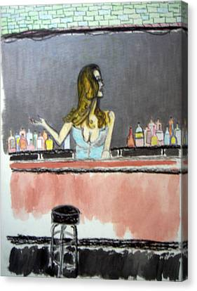 Canvas Print featuring the painting Bartender by J Anthony