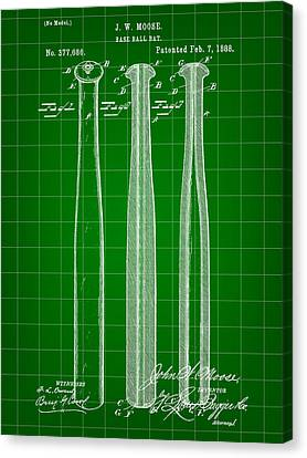 Baseball Bat Patent 1888 - Green Canvas Print by Stephen Younts