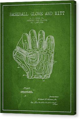 Baseball Gloves Canvas Print - Baseball Glove Patent Drawing From 1924 by Aged Pixel