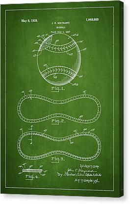 Baseball Canvas Print - Baseball Patent Drawing From 1927 by Aged Pixel