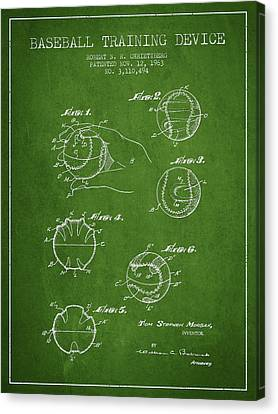 Baseball Canvas Print - Baseball Training Device Patent Drawing From 1963 by Aged Pixel