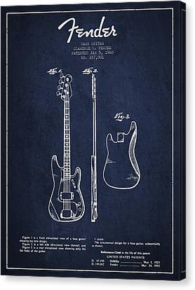 Bass Guitar Patent Drawing From 1960 Canvas Print by Aged Pixel