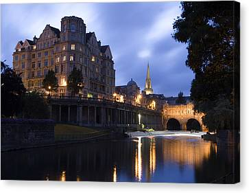Bath City Spa Viewed Over The River Avon At Night Canvas Print by Mal Bray