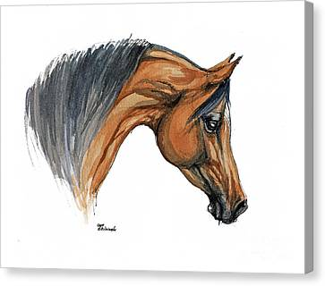 Bay Horse Canvas Print - Bay Arabian Horse Watercolor Painting  by Angel  Tarantella