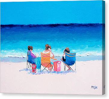 Beach Painting 'girl Friends' By Jan Matson Canvas Print by Jan Matson