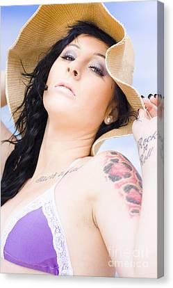 Disdainful Canvas Print - Beach Woman by Jorgo Photography - Wall Art Gallery