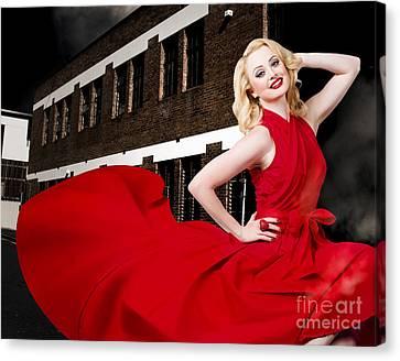 Wavy Canvas Print - Beautiful Sexy Blond Girl Wearing A Long Dress by Jorgo Photography - Wall Art Gallery