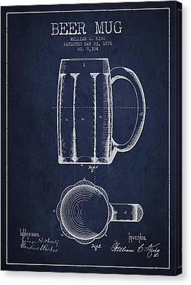 Beer Mug Patent From 1876 - Navy Blue Canvas Print by Aged Pixel