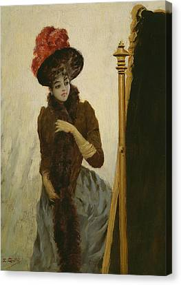 Before The Swing Mirror Canvas Print by Emile Galle