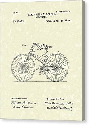 Bicycle 1890 Patent Art Canvas Print by Prior Art Design