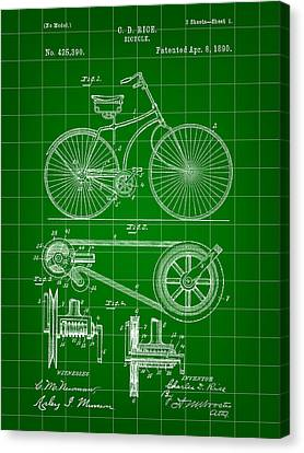 Bicycle Patent 1890 - Green Canvas Print by Stephen Younts