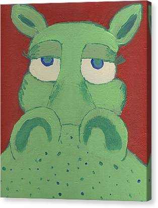 Canvas Print featuring the painting Big Green Potamus by Yshua The Painter