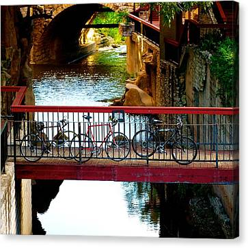 Bikes Over Waller Creek In Austin Canvas Print