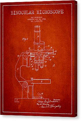 Binocular Microscope Patent Drawing From 1931 - Red Canvas Print by Aged Pixel