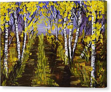 Birch Trees And Road In Fall Forest Painting Canvas Print by Keith Webber Jr