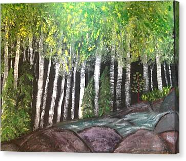 Canvas Print featuring the painting Birches By Falls by Paula Brown