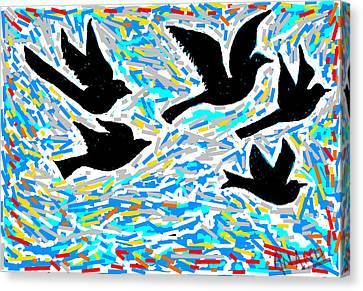 Birds In Flight Canvas Print by Anand Swaroop Manchiraju