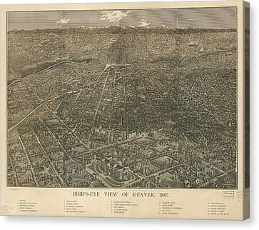 Birdseye Map Of Denver Colorado - 1887 Canvas Print by Eric Glaser