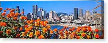 Blooming Flowers With City Skyline Canvas Print