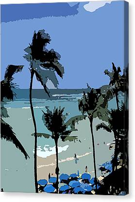 Blue Beach Umbrellas Canvas Print by Karen Nicholson