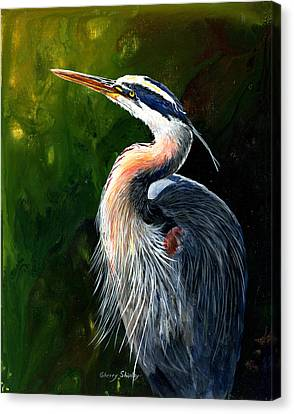 Blue Heron  Canvas Print by Sherry Shipley