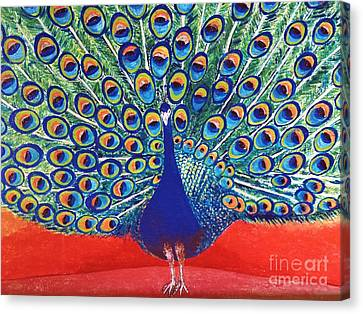 Blue Peacock Canvas Print by Jasna Gopic