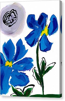 Canvas Print featuring the painting 2 Blue Petunias Abstract by Frank Bright