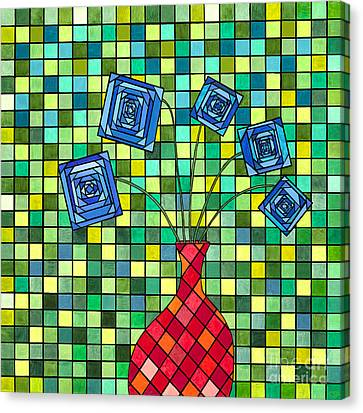 Blue Square Flowers Canvas Print