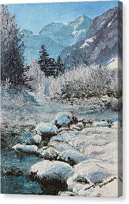 Canvas Print featuring the painting Blue Winter by Mary Ellen Anderson