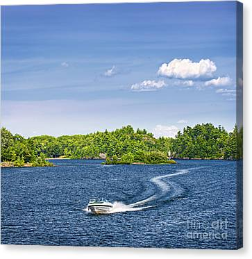 Boating On Lake Canvas Print