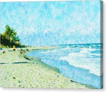 Boca Beach Play Canvas Print by Florene Welebny