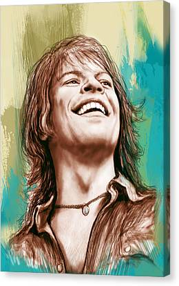 Drummer Canvas Print - Bon Jovi Long Stylised Drawing Art Poster by Kim Wang