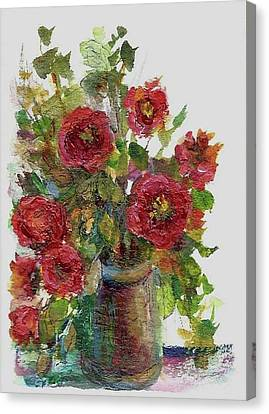 Canvas Print featuring the painting Bouquet Of Poppies by Mary Wolf