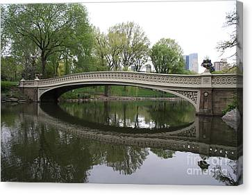Bow Bridge Reflection Nyc Canvas Print