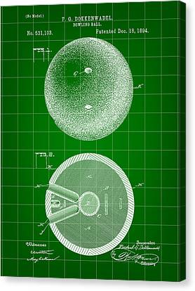 Curve Ball Canvas Print - Bowling Ball Patent 1894 - Green by Stephen Younts