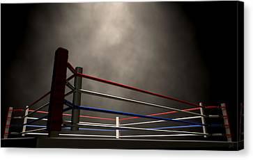 Boxing Sports Canvas Print - Boxing Ring Spotlit Dark by Allan Swart